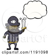 Cartoon Of A Black Pirate Thinking Royalty Free Vector Illustration