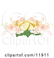 Two Entwined Golden Wedding Rings On A Yellow And Pink Hibiscus Bouquet Clipart Picture