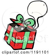 Cartoon Of A Wrapped Gift With Eyes Speaking Royalty Free Vector Illustration