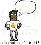Cartoon Of A Black Man Wearing A Shirt With The Number 0 Royalty Free Vector Illustration