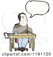 Cartoon Of A Man At A Desk Speaking Royalty Free Vector Illustration