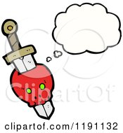Cartoon Of A Skull And Dagger Thinking Royalty Free Vector Illustration by lineartestpilot