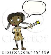 Cartoon Of A Black Viking Girl Speaking Royalty Free Vector Illustration