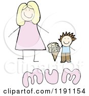 Cartoon Of A Mothers Day Card Royalty Free Vector Illustration