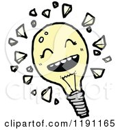 Cartoon Of A Smiling Lightbulb Royalty Free Vector Illustration