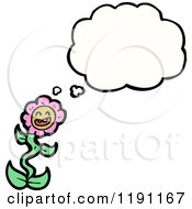 Cartoon Of A Pink Flower Thinking Royalty Free Vector Illustration by lineartestpilot