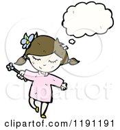 Cartoon Of A Girl Thinking Royalty Free Vector Illustration