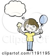 Cartoon Of A Boy Thinking Royalty Free Vector Illustration by lineartestpilot