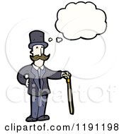Cartoon Of A Man Wearing A Top Hat With A Cane Thinking Royalty Free Vector Illustration