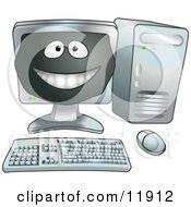 Happy Computer Cartoon Character Clipart Illustration