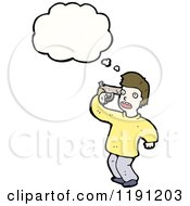 Cartoon Of A Man Commiting Suicide Thinking Royalty Free Vector Illustration by lineartestpilot