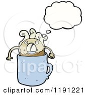 Cartoon Of A Donut In A Coffee Cup Thinking Royalty Free Vector Illustration by lineartestpilot