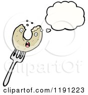Cartoon Of A Donut On A Fork Thinking Royalty Free Vector Illustration by lineartestpilot