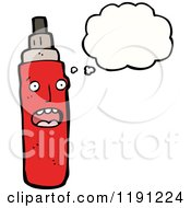 Cartoon Of A Spray Can Thinking Royalty Free Vector Illustration