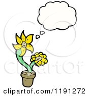 Cartoon Of A Yellow Flower In A Pot Thinking Royalty Free Vector Illustration by lineartestpilot