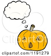 Cartoon Of A Jack O Lantern Thinking Royalty Free Vector Illustration by lineartestpilot