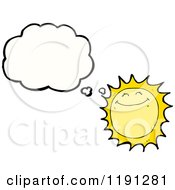Cartoon Of A Sun Thinking Royalty Free Vector Illustration by lineartestpilot