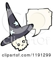 Cartoon Of A Skull Wearing A Witch Hat Speaking Royalty Free Vector Illustration by lineartestpilot