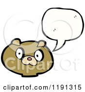 Cartoon Of A Teddy Bears Head Speaking Royalty Free Vector Illustration