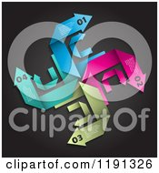 Clipart Of Infographic Swirl Arrows On Black Royalty Free Vector Illustration by KJ Pargeter