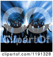 Clipart Of Silhouetted People Dancing Over Music Notes And Blue Lights Royalty Free Vector Illustration
