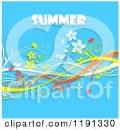 Summer Text Over Floral Vine Waves On Blue