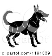 Clipart Of A Black And White Chinese Zodiac Dog Royalty Free Vector Illustration by AtStockIllustration