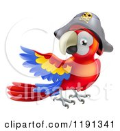 Cartoon Of A Presenting Parrot Pirate Wearing A Hat Royalty Free Vector Clipart by AtStockIllustration
