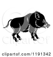 Clipart Of A Black And White Chinese Zodiac Boar In Profile Royalty Free Vector Illustration by AtStockIllustration