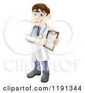 Cartoon Of A Friendly Male Doctor Holding And Pointing To Medical Chart Royalty Free Vector Clipart by AtStockIllustration