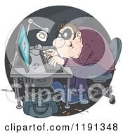 Cartoon Of A Hacker Using A Stolen Credit Card To Make Online Purchases Royalty Free Vector Clipart by Alex Bannykh