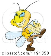 Cartoon Of An Estatic Butterfly Grinning Royalty Free Vector Clipart