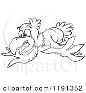 Cartoon Of A Flying Surprised Eagle Line Art Royalty Free Vector Clipart