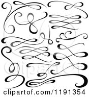 Clipart Of A Black And White Calligraphic Designs 3 Royalty Free Vector Illustration