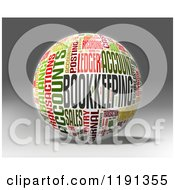 Clipart Of A 3d Bookkeeping Finance Word Collage Globe Over Shading Royalty Free CGI Illustration