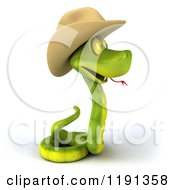 Clipart Of A 3d Green Snake Wearing A Cowboy Hat 2 Royalty Free CGI Illustration