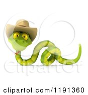 Clipart Of A 3d Green Snake Wearing A Cowboy Hat 3 Royalty Free CGI Illustration