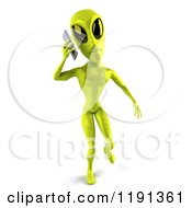 Clipart Of A 3d Green Alien Being Using A Cell Phone 2 Royalty Free CGI Illustration