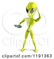 Clipart Of A 3d Confused Green Alien Being Using A Cell Phone Royalty Free CGI Illustration
