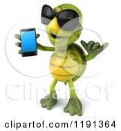 Clipart Of A 3d Tortoise Wearing Sunglasses Holding A Cell Phone And Gesturing To Call 2 Royalty Free CGI Illustration