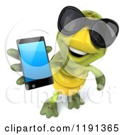 Clipart Of A 3d Tortoise Wearing Sunglasses And Using A Cell Phone Royalty Free CGI Illustration