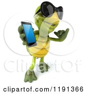 Clipart Of A 3d Tortoise Wearing Sunglasses Holding A Cell Phone And Gesturing To Call Royalty Free CGI Illustration