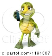 Clipart Of A 3d Tortoise Using A Cell Phone Royalty Free CGI Illustration