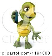Clipart Of A 3d Tortoise Using A Cell Phone 2 Royalty Free CGI Illustration