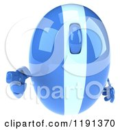 Clipart Of A 3d Blue Computer Mouse Mascot Pointing Outwards Royalty Free CGI Illustration