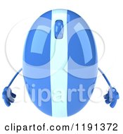 Clipart Of A 3d Blue Computer Mouse Mascot Royalty Free CGI Illustration