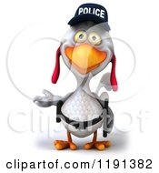 Clipart Of A 3d White Police Chicken Presenting Royalty Free CGI Illustration