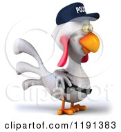 Clipart Of A 3d White Police Chicken Facing Right Royalty Free CGI Illustration