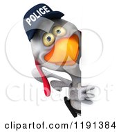 Clipart Of A 3d White Police Chicken Looking Around A Sign Royalty Free CGI Illustration