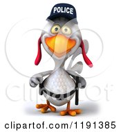 Clipart Of A 3d White Police Chicken Walking Royalty Free CGI Illustration